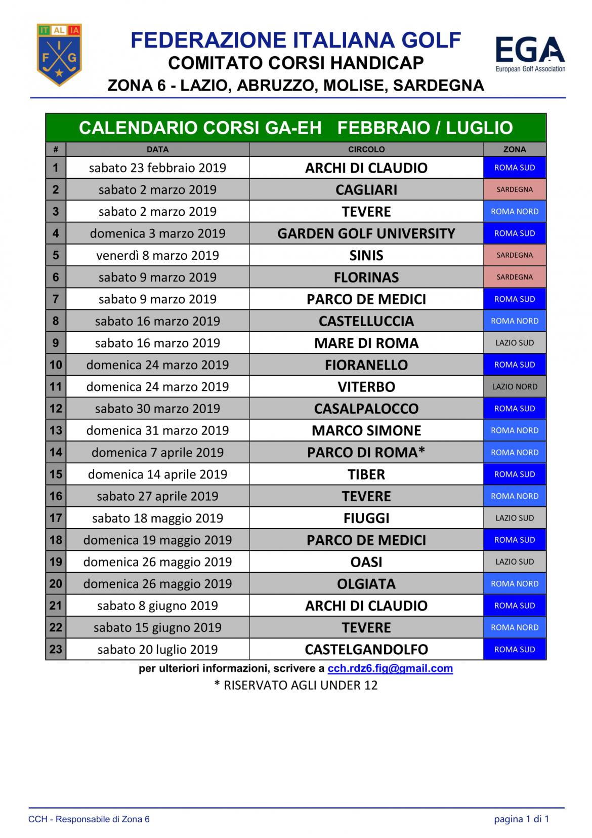 Calendario Corsi.Calendario Corsi Ga Eh 2019 Zona 6 Agg 6 Marzo 1 Mare Di